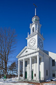 Maine, Kennebunkport, South Congregational Church after big snow storm