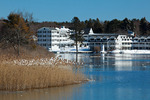 Maine, Kennebunkport, tidal creek after big snow storm