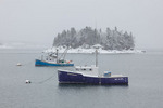 Maine, Lubec in winter, fishing boat in snow storm