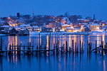 Maine, Lubec in winter at dusk, viewed from Campobello Island, New Brunswick