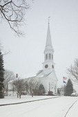 Maine, York Beach, United Church of Christ--First Parish, record snow storm/blizzard of February 2013