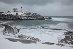 Maine, York Beach, Cape Neddick (Nubble Head) Lighthouse, record snow storm/blizzard of February 2013