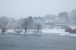 Maine, York Harbor, homes and pond by Stage Neck in record snow storm/blizzard of February 2013