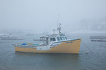 Maine, York Harbor, boats in harbor area in record snow storm/blizzard of February 2013