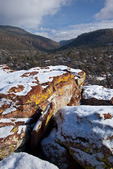 New Mexico, Gila National Forest, Pinos Altos Range with snow, Ben Lilly Memorial area, rock formations