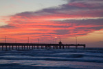 Texas, Corpus Christi, beach and Bob Hall Pier at sunrise
