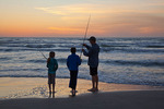 Texas, Padre Island National Seashore, sunrise on the beach, Jason and Michelle Parent, Dale Linenberger fishing