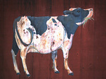 Folk Art Cow Painting on Red Barn Door