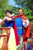 Snow White & Prince! Walt Disney created a magical world with his characters of fantasy. The daily parade at Disney World, Orlando Florida is an exciting moment for kids and adults alike, as they encounter characters whom they've only imagined. The realistic portrayal, music, costuming and performance by the actors/players enhances the crowds' enjoyment!