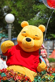 Winnie the Pooh Bear! Walt Disney created a magical world with his characters of fantasy. The daily parade at Disney World, Orlando Florida is an exciting moment for kids and adults alike, as they encounter characters whom they've only imagined. The realistic portrayal, music, costuming and performance by the actors/players enhances the crowds' enjoyment!