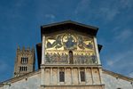 Lucca's San Frediano is noted for the two-story high 13th-century mosaic. Lucca is in Tuscany, in northern central Italy.  The city is known for