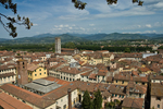 View from atop Torre Guinigi.  The church of San Frediano is in the middle. Lucca's Torre Guinigi is atop a 14th-century palace.  It is 144 feet high, and a climb up its 230 steps leads to a specatucular view of Lucca and the surrounding mountains. Lucca is in Tuscany, in northern central Italy.  The city is known for