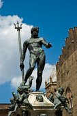 "The 16th-cenury Neptune Fountain, in Piazza Nettuno, designed by Tomaso Laureti and decorated with bronze figures by Giabologna. Bologna has acquired many nicknames: ""the learned one"" (la dotta) is a reference to its famous university, Europe's oldest.  ""The fat one"" (la grassa) refers to its renowned cuisine. ""The red one"" (la rossa)  refers to the color of the roofs in the historic center, but this nickname is also connected to the political situation in the city. After World War II, Bologna was long was a bastion of socialism and communism.  Bologna's historic city center is one of the best preserved and best maintained in Italy."