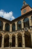 Palazzo Archiginnasio, which was the seat of the University of Bologna until 1800.  It now houses the municipal library.  Frescoes and coasts o arms in its courtyard are memorials to famous scholars. Bologna's historic city center is one of the best preserved and best maintained in Italy.