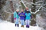 Birdwatchers - man guiding 3 girls