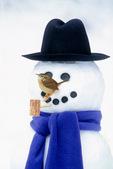 Carolina wren on snowman