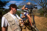 National Geographic Explorer Television crew filming orinoco crocodiles in Venezuela.  Kevin Krug, Ed George and Leu Steiger.