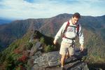Hiker atop Chimney Tops