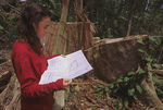 Lisa Paciulli standing by an illegally logged tree with an official  blueprint of the Betumonga Research Station property.