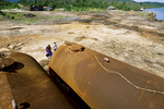Fuel tanks at logging operation.