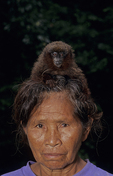 Woman with black mantle tamarin