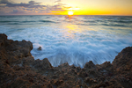 Limestone and Atlantic Ocean at sunrise, Blowing Rocks Preserve