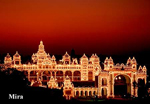 Maharajah's Palace illuminated at night.