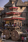 Nepalese New Year Celebration Chariot which is pulled through the town, Bhaktapur, Nepal.