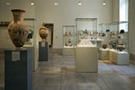 Display of early Grecco Roman jewelry, pottery and crafts at the Metropolitan Museum of Art, New York, NYC, USA