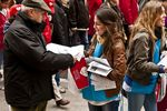 Young pro-life women hand out leaflets at a huge &quot;March for Life&quot; demonstration, March 7th, Madrid, Spain