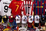 Spanish team futball player jerseys for sale, Madrid, Spain