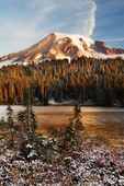 Mount Rainier and snow dusted Reflection Lakes, Mount Rainier National Park, Washington, USA