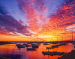 Spectacular Sunrise over Vineyard Haven Harbor, Martha's Vineyard, Tisbury, MA