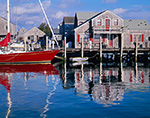 Wharf House and Sloop at Nantucket Harbor