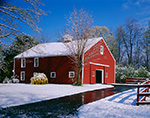 Red Barn and Early Spring Snow,