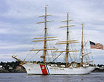 "Coast Guard Tall Ship ""The Eagle"" Leaving Portland Harbor, ME"