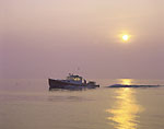 Lobster Boat and Rising Sun