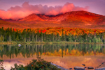 Autumn Sunrise Lights up Mount Katahdin Reflecting in Sandy Stream Pond, Baxter State Park, ME