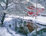 Red Barn along West Branch of Tully River after Snowfall, Tully Village, Orange, MA