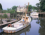 Commercial Boat and Cabin Cruiser off York River, Western Shore, Chesapeake Bay Watershed