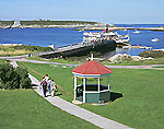 View from Oceanic Hotel of Ferry, Walkway and Gazebo on Star Island