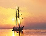 """The Schooner """"Shenandoah"""" at Sunrise, Vineyard Haven Harbor"""