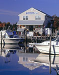 Power Boats and Reflections in Front of Dockside Cafe
