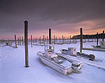 Quahog Boats Frozen in East Greenwich Yacht Club and Norton Marina