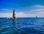 Whaleback Lighthouse and Sailboat, Gulf of Maine, Atlantic Ocean, Kittery, Maine