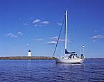 "Bayfield 29 ""Rachel Kalyn"", Bird Island Light, Buzzards Bay"