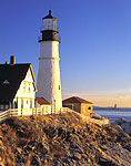 Portland Head Light with Ram Island Ledge Light in Background in Early Morning Light