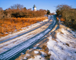 Cape Poge Lighthouse with Access Road in Winter on Cape Poge/Wasque Wildlife Refuge, Chappaquiddick Island, Martha's Vineyard, Edgartown, MA