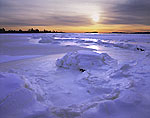 Sunset over Frozen Tidal Area, Bluff Point State Park and Coastal Reserve