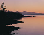 Late Evening Light along Shoreline of Seal Harbor with View of Camden Hills